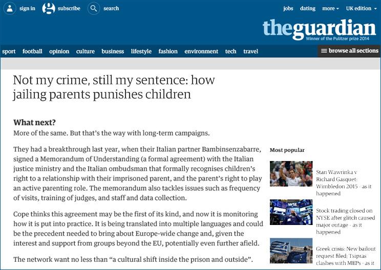 """La schermata del """"The Guardian"""" che nomina la campagna di sensibilizzazione europea sui bambini figli di detenuti"""