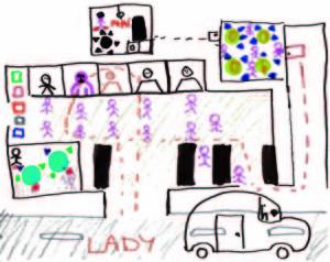 Il carcere disegnato da Lady, 9 anni, col suo percorso per andare a trovare il papà detenuto